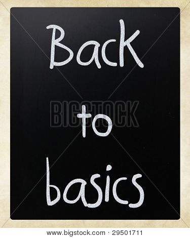 """back To Basics"" Handwritten With White Chalk On A Blackboard"