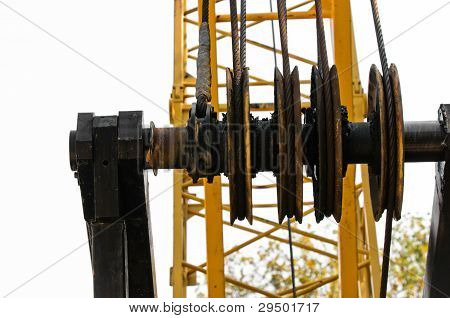 Industrial Crane Against White Background