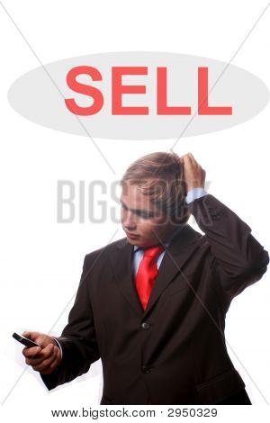 Homem de negócios jovens pensando em mais vendas