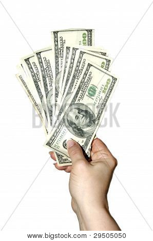 hand with dollars bills