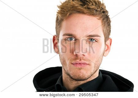 Handsome blond man with blue eyes isolated on white
