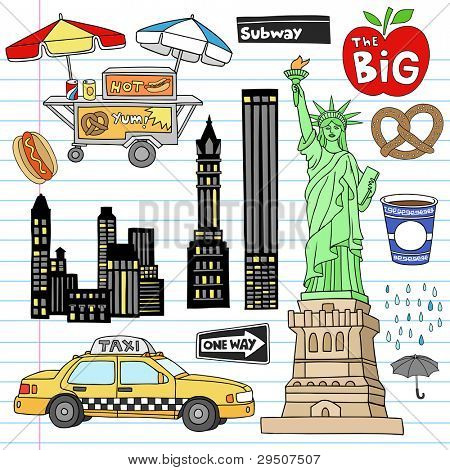Stock Vector Illustration: New York City Manhattan Notebook Doodle Design Elements Set on Lined Sketchbook Paper Background- Hand Drawn Vector Illustration