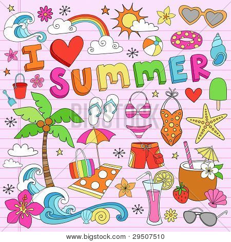I Love Summer Psychedelic Groovy Notebook Doodle Design Elements Set on Pink Lined Sketchbook Paper Background- Vector Illustration
