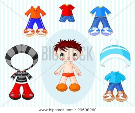 Paper Doll boy with different clothes