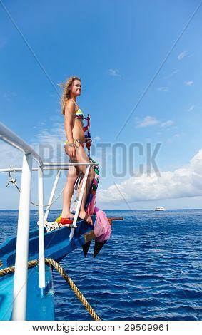 Blonde Girl On Yacht