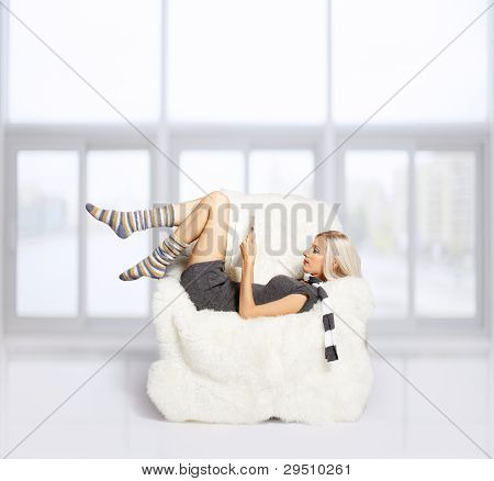Blonde On Furry Arm-chair
