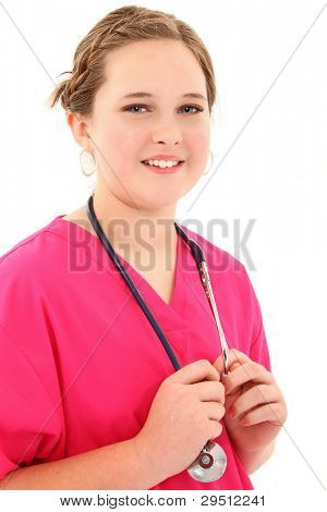 Attractive young female medical student over white with stethoscope.