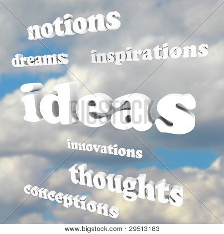 Many words such as Ideas, Inspirations, Innovations, Thoughts and Dreams in a cloudy blue sky as a background to symbolize creativity