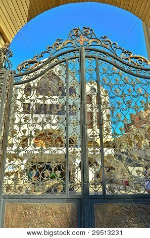 Aswan, Egypt - Archangel Michael's Coptic Orthodox Cathedral - gate