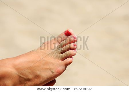 Beautiful woman foot on the beach