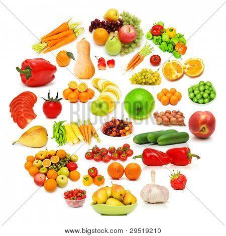 Círculo con una gran cantidad de alimentos