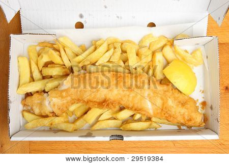 Cod & chips in cardboard takeaway box