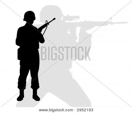 Silhouette Of Riflemen