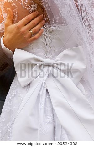 closeup shot of gorgeous wedding dress from behind