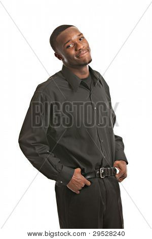 Young Black Business Man Portrait, Smiling Isolated on White Background
