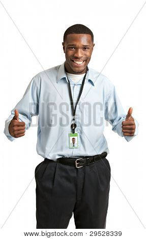 Happy Smiling African American Worker Carrying Employee Badge on Isolated White Background