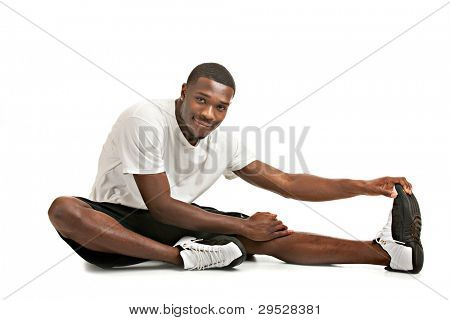 Healthy Looking Happy Young African American Male Ready Workout Isolated on White Background