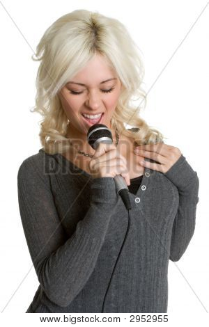 Lady Singing Kareoke