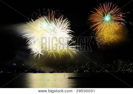 Fireworks in Vancouver harbor, Canada