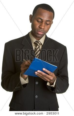 Black Businessman Writing Check