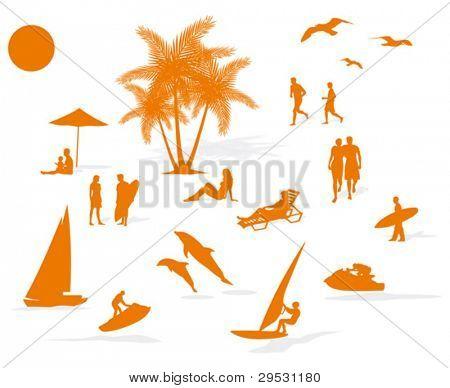 silhouette summer beach