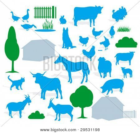 farm animals silhouette (vector)