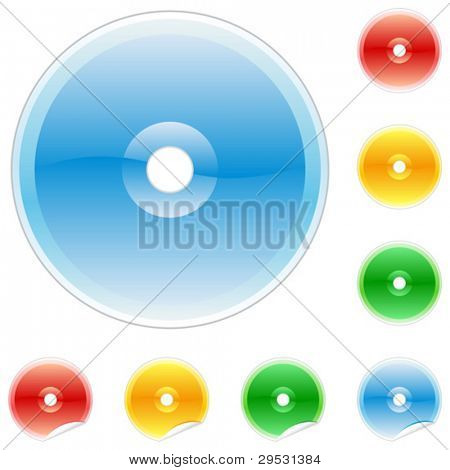 Set of colored cd disk