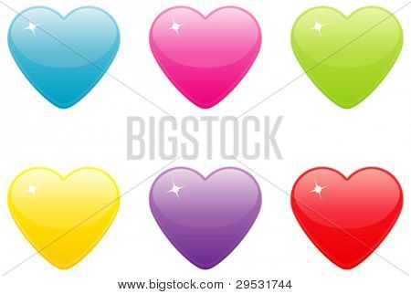 Set of colored heart icons.