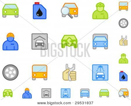Set of flat car icons. Do is not use gradient. Easy change color. Good looking in small size.