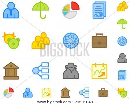 Set of flat business icons. Do is not use gradient. Easy change color. Good looking in small size.