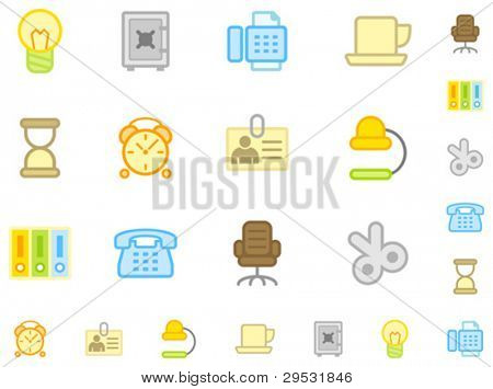 Set of flat workplace icons. Do is not use gradient. Easy change color. Good looking in small size.