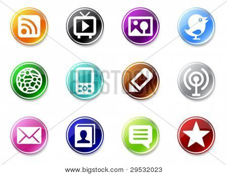 An illustrasion set of simple media icons for your website, application, or presentation.  Good looking in small size.