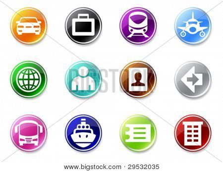 An illustrasion set of simple travel icons for your website, application, or presentation.  Good looking in small size.