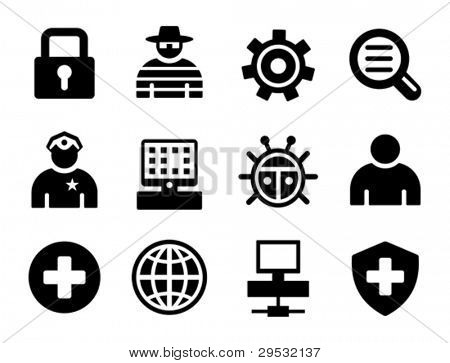 Set a black protection icons