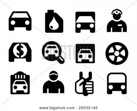 Set a black car icons