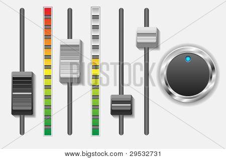 Botões de controle de som.