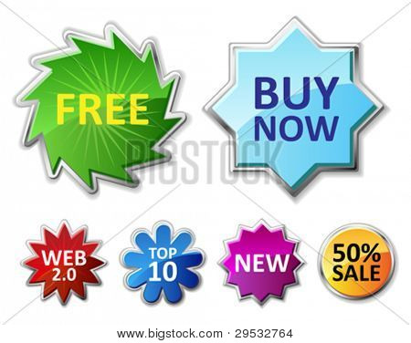 Glossy badges and sale tags