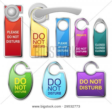 Hotel door signs vector - do not disturb label set and doorhandle. For your design, website, presentation, or ...