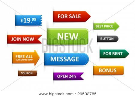 Set of sale labels, price tags, discount tags, pointers.