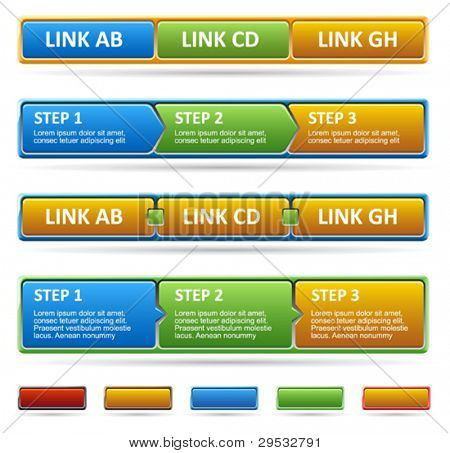 Colored web site menu and process steps.