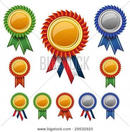 Rosetas de fita em branco prêmio