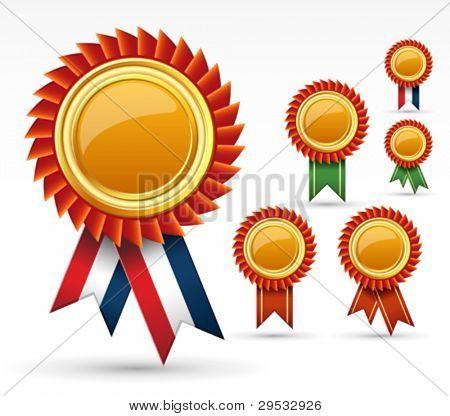 Red award ribbon rosette or gold medal.