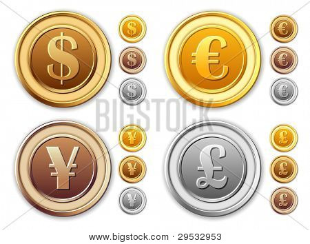 Collection coins - dollar, euro, british pounds, japanese yen