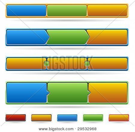 Colored web site menu and process steps.