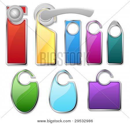 Hotel door signs vector - do not disturb label set and doorhandle.