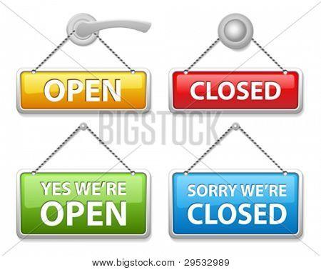 Puerta abierta y cerrada brillante firma Junta