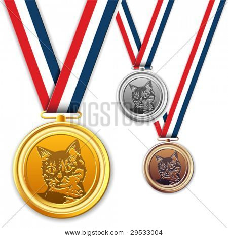 Cat medals, award, medallion