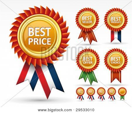 Assinar o melhor preço, produto, saller e prêmio de escolha ou rótulo de vetor