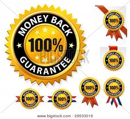 Vector money back guarantee sign, label