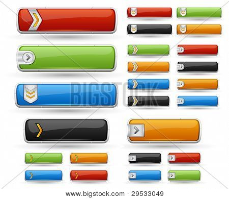 Glossy buttons pack. Include color - red, blue, orange, green, black.